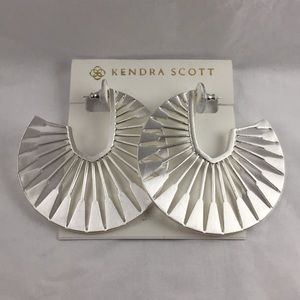 Signed Kendra Scott Deanne Silver Hoop Earrings